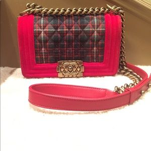 Chanel Paris-Edinburgh small velvet tartan boy bag